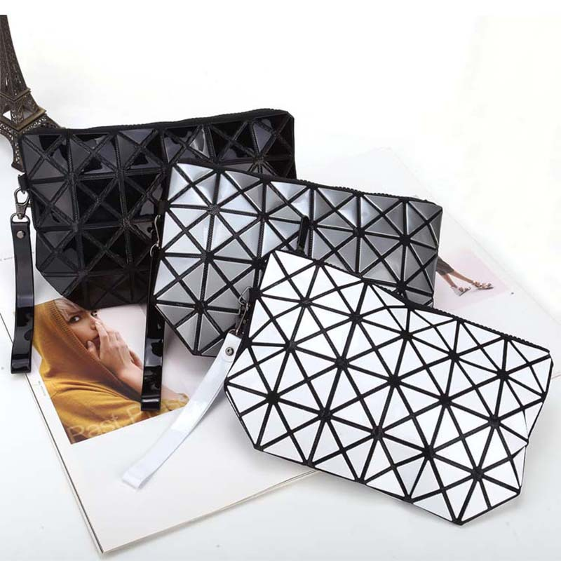 Fashion geometric triangle rhombus fold over square mosaic clutch women solid color folding bag casual mobile phone bags