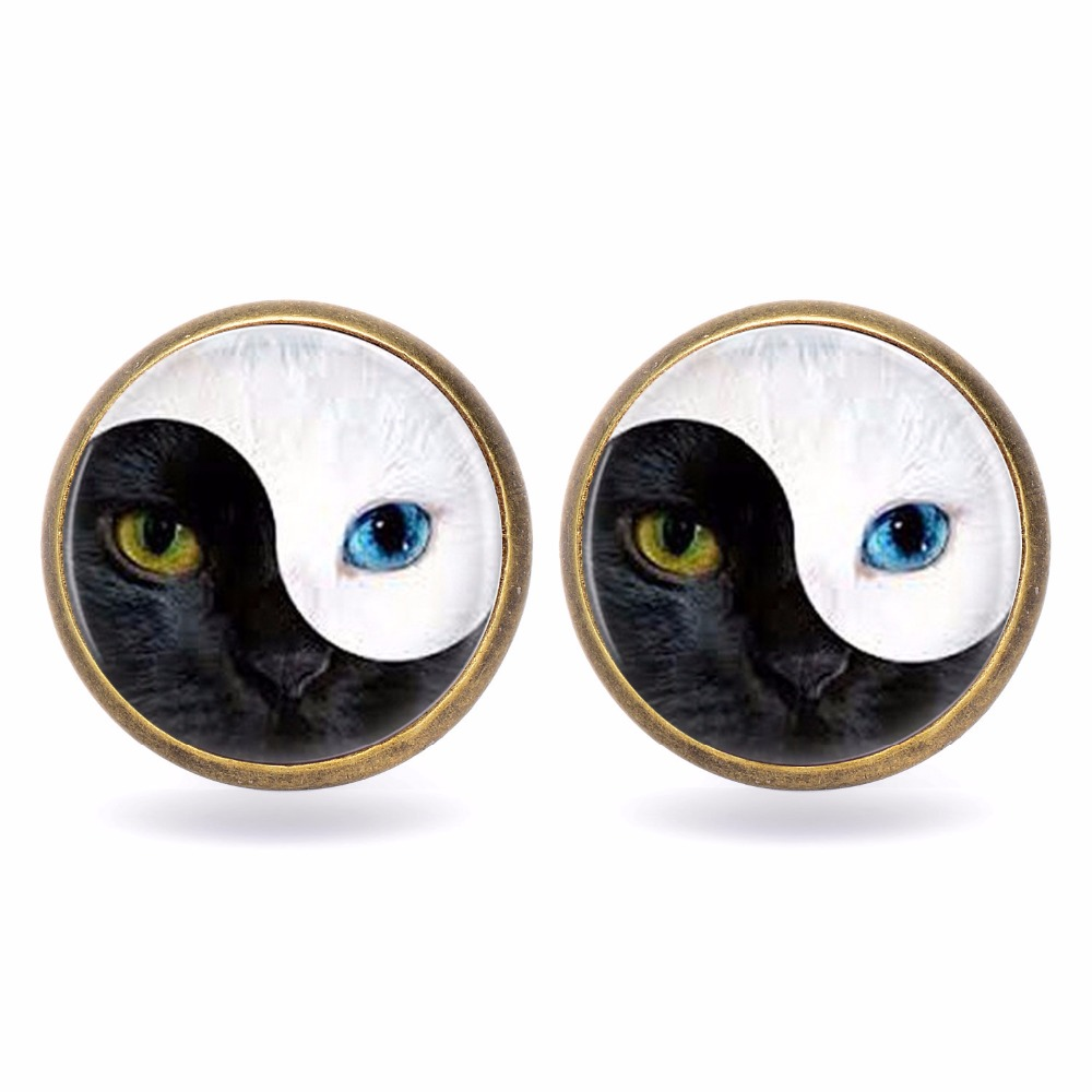 YIN YANG Cat Exquisite Retro Glass Cabochon Black Cat Earring Silver & Bronze Tai Chi Alloy Jewelry