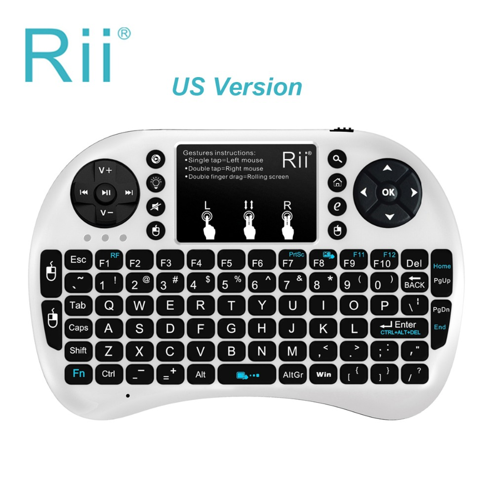 RII i8 + 2.4G Kablosuz Mini Touchpad fare Arkadan Aydınlatmalı Klavye için Google Android Tv Kutusu Tvbox Pc Xbox 360 Ps3 Teclado inalámbrico